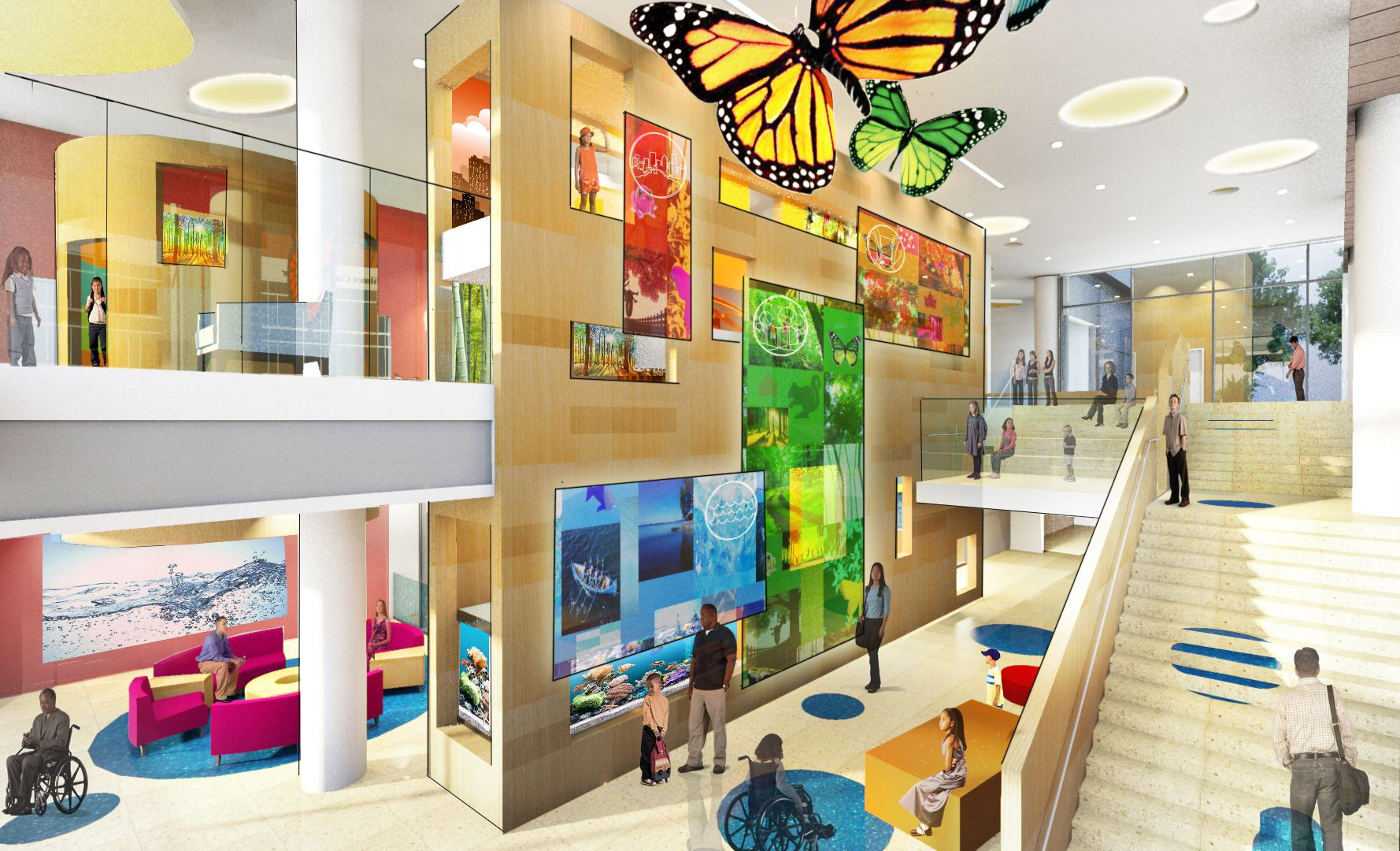 Abit Crazy But Love The Butterfly Sculptures And Colour On Floor Glass