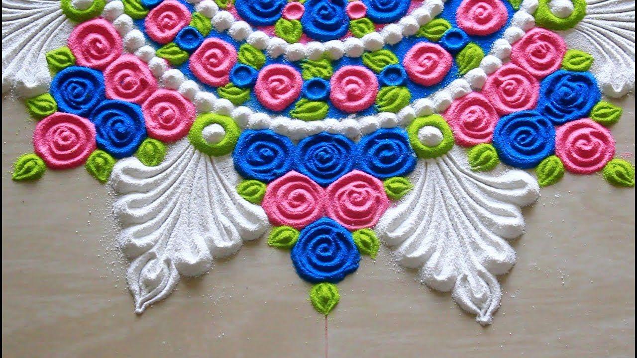 Very easy rose rangoli for beginners l सुंदर रंगीन डिजाइन