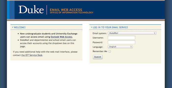 Duke Email   Email Services   Login page, Duke