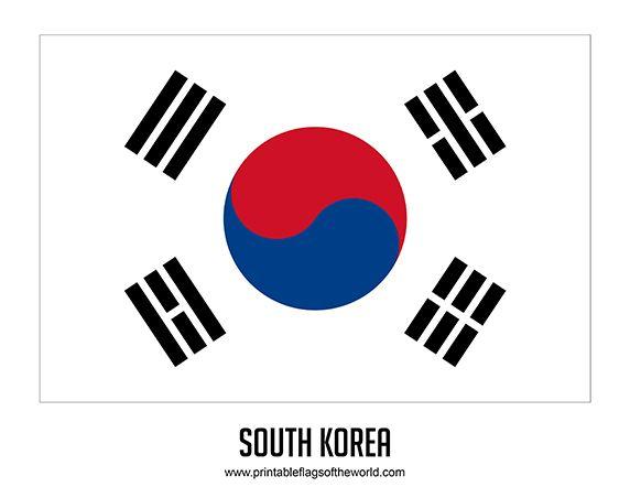 Free Printable South Korea Flag Download PDF  Printable Country