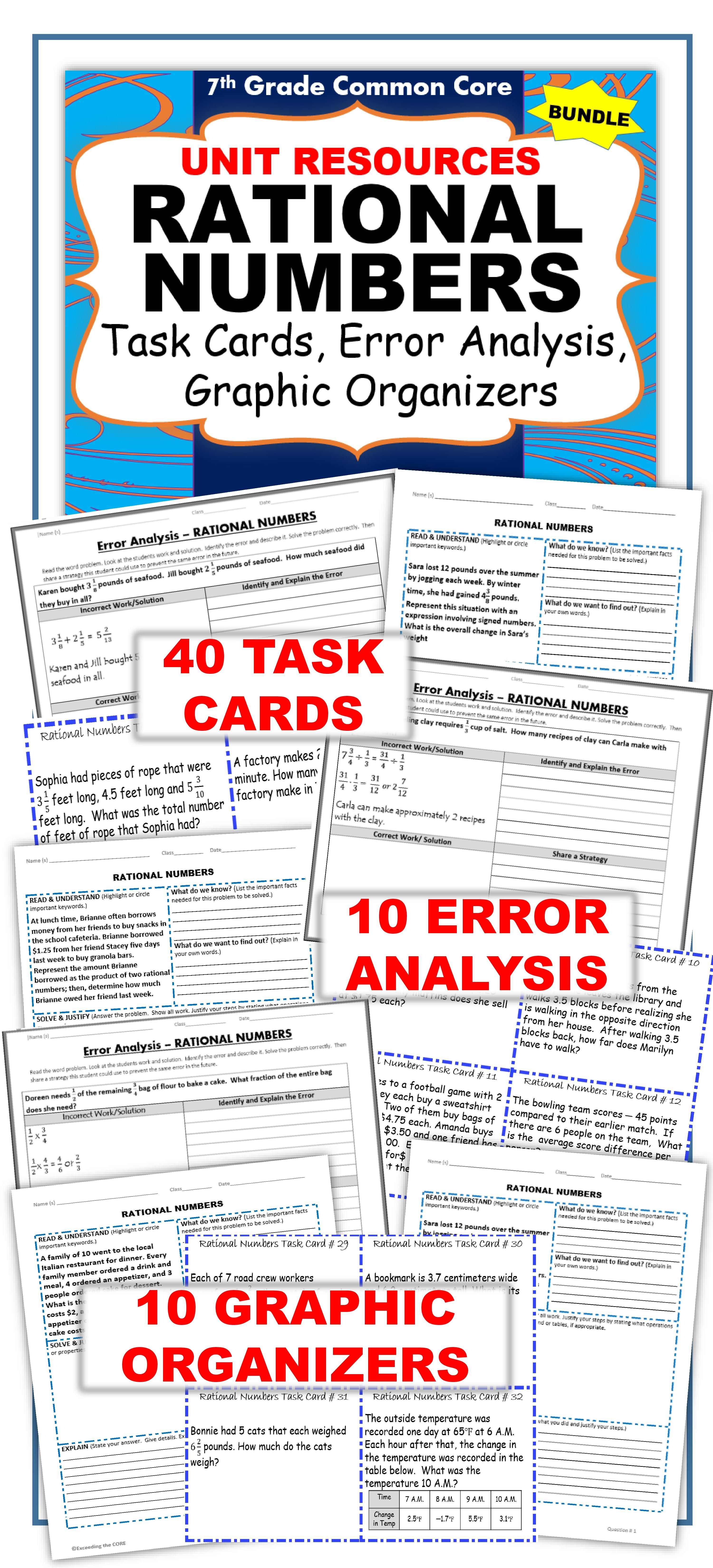 Rational Numbers Bundle Task Cards Errorysis Problem Solving Hw Notes