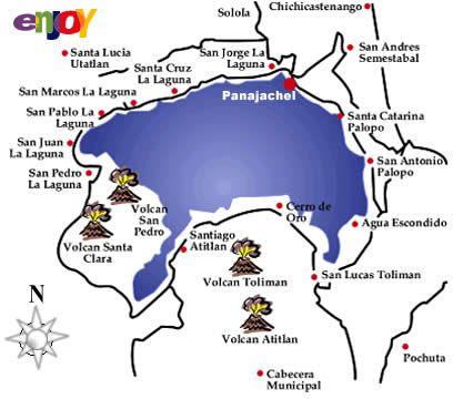 el mapa del lago Atitlán y los pueblos vecindarios