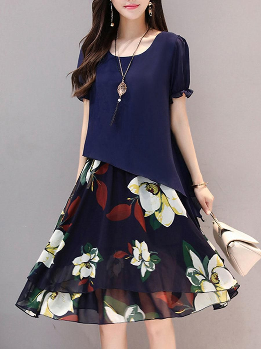 Excellent floral printed chiffon shift dress in dress