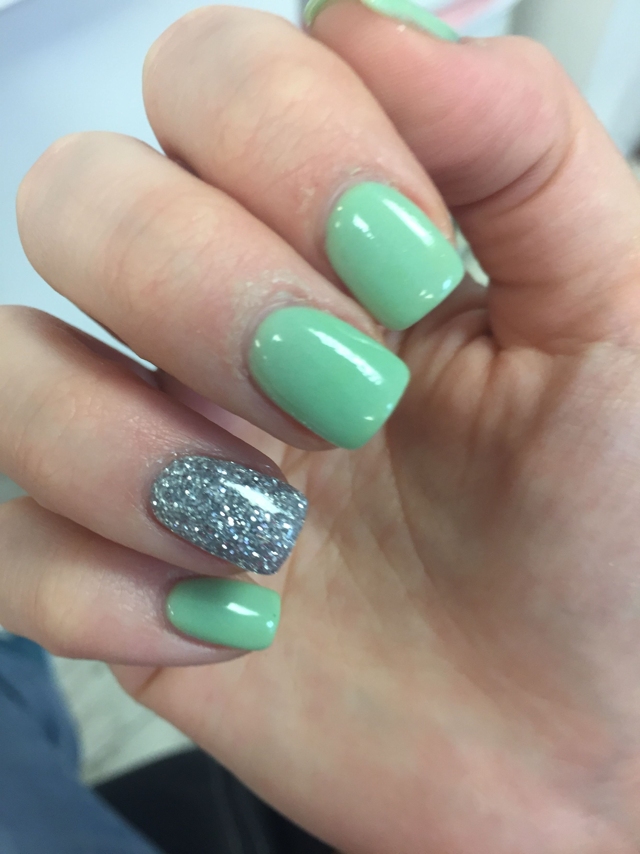 Nexgen Nails Mint Green And Silver Glitter Nexgen Nails Mint Nails Mint Green Nails