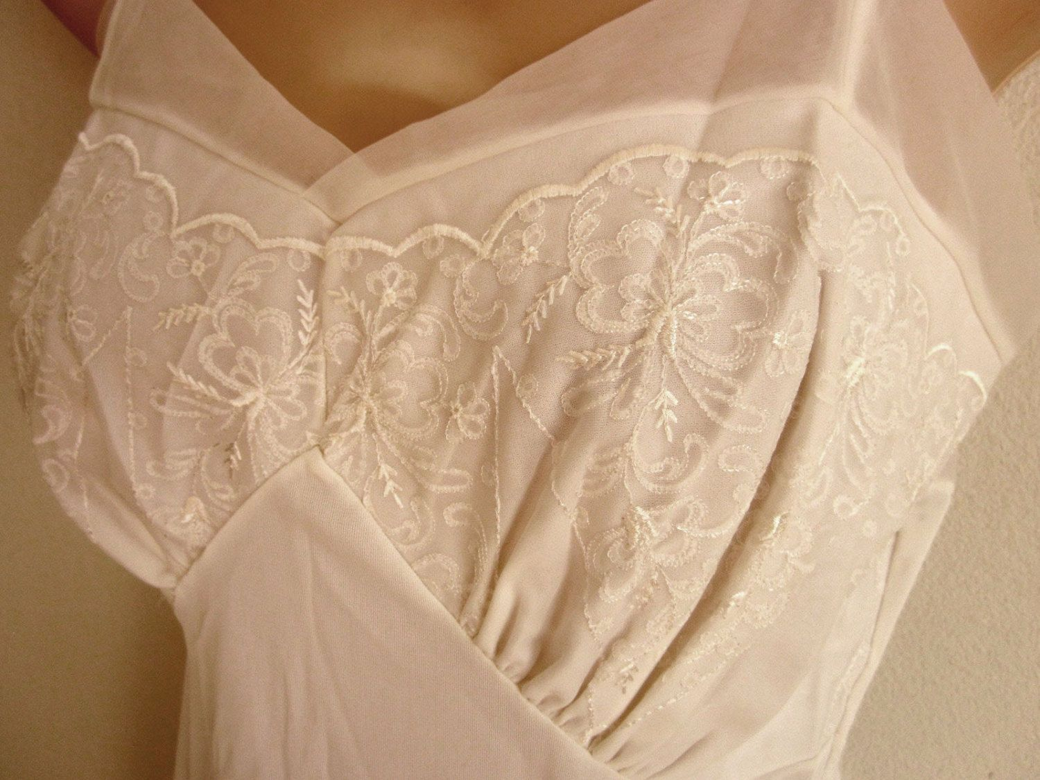 Vintage full slip white nylon shadow lace bodice sexy lingerie nightgown 36 bust by divasvintage on Etsy