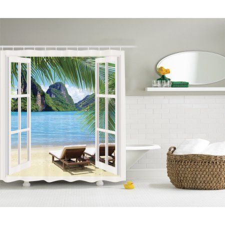 Palm Tree Decor Ocean Beach Sunbed Balcony Window Tropical Island Shower Curtain
