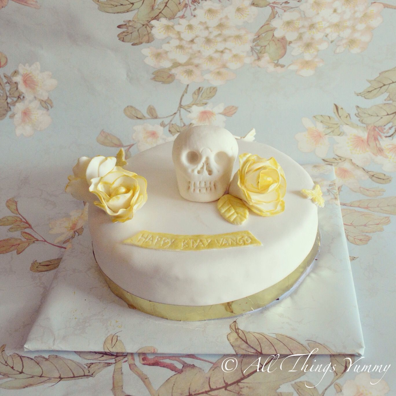 Customized cakes guess the theme pinterest cake and birthday themed cakes skeleton and floral themed birthday cake all things yummy elegant or creepy p flowers sugarflowers edibleart goldandwhite izmirmasajfo