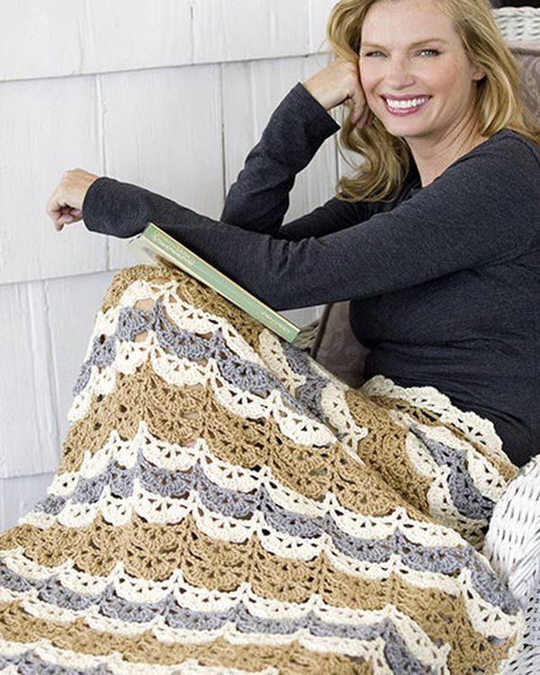 Free Shell Clusters Lapghan Crochet Pattern From Redheartcom