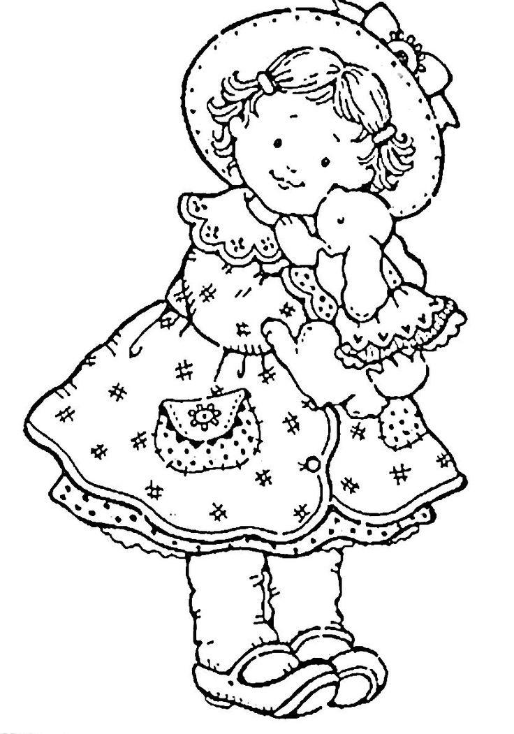 Jolie fillette digital stamping pinterest jolies coloriage et cartes - Coloriage jolie ...