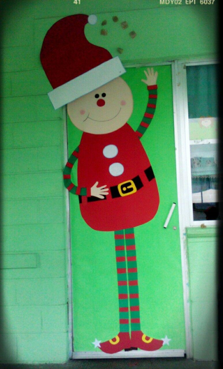 Puerta para diciembre duende puertas decoradas y for Puertas decoradas con dinosaurios