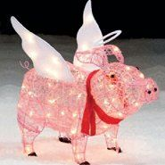 trim a home 28 lighted angel pig outdoor christmas decoration at kmartcom - Pig Christmas Decorations Outdoors