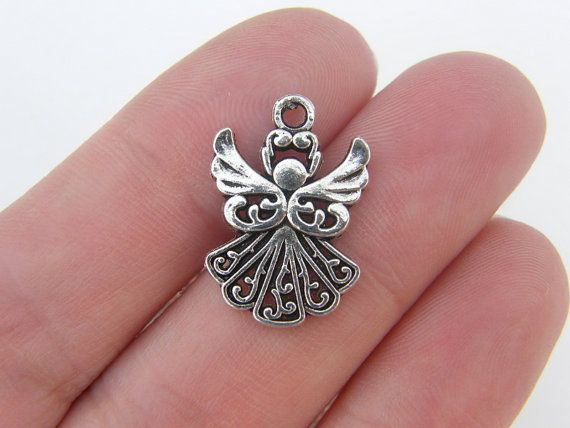 BULK 30 Angel charms antique silver tone AW85