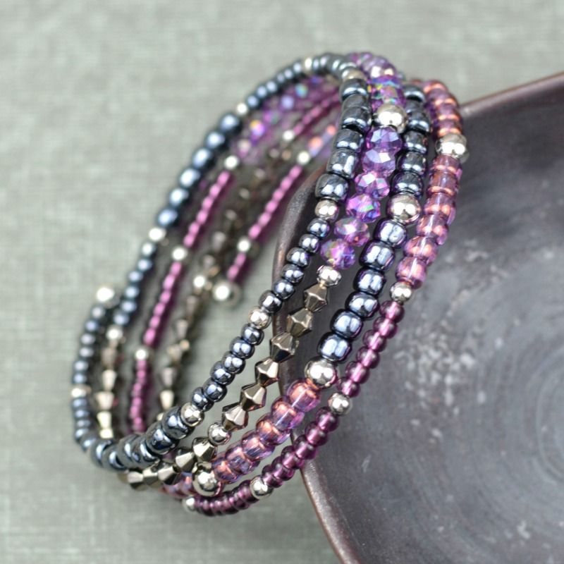 How To Make Memory Wire Beaded Bracelet Jewelry And