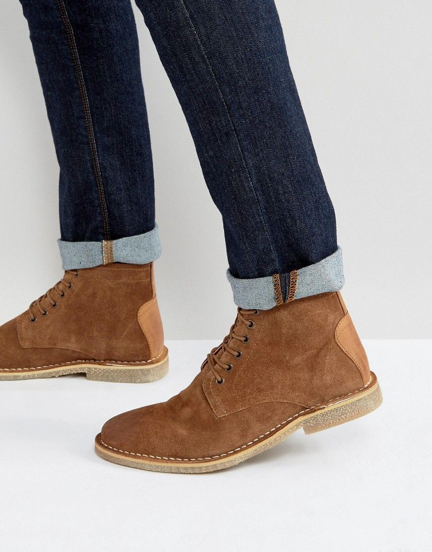 1afca5a049bdd ASOS Desert Boots In Tan Suede With Leather Detail - Wide Fit Availabl
