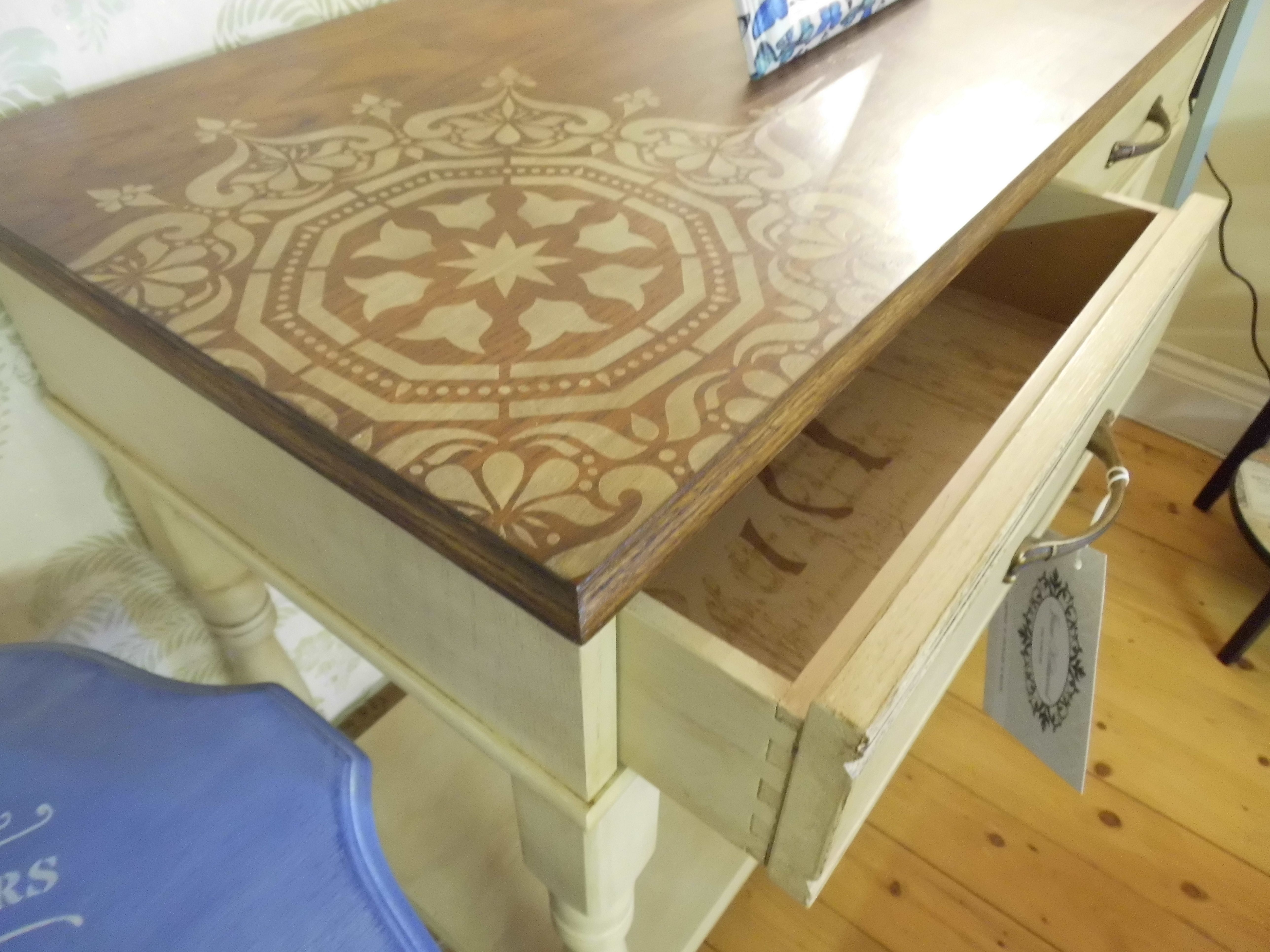 Painted Cream Table Top In Dark Oak Wood Stain With Medallion Circular Stencil Design Drawers Painted Cream And Staining Wood Oak Wood Stain Cream Furniture