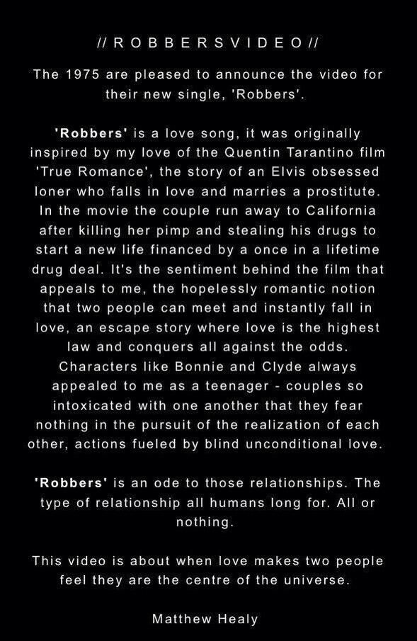 Matty Healy S Explanation Of Robbers With Images The 1975