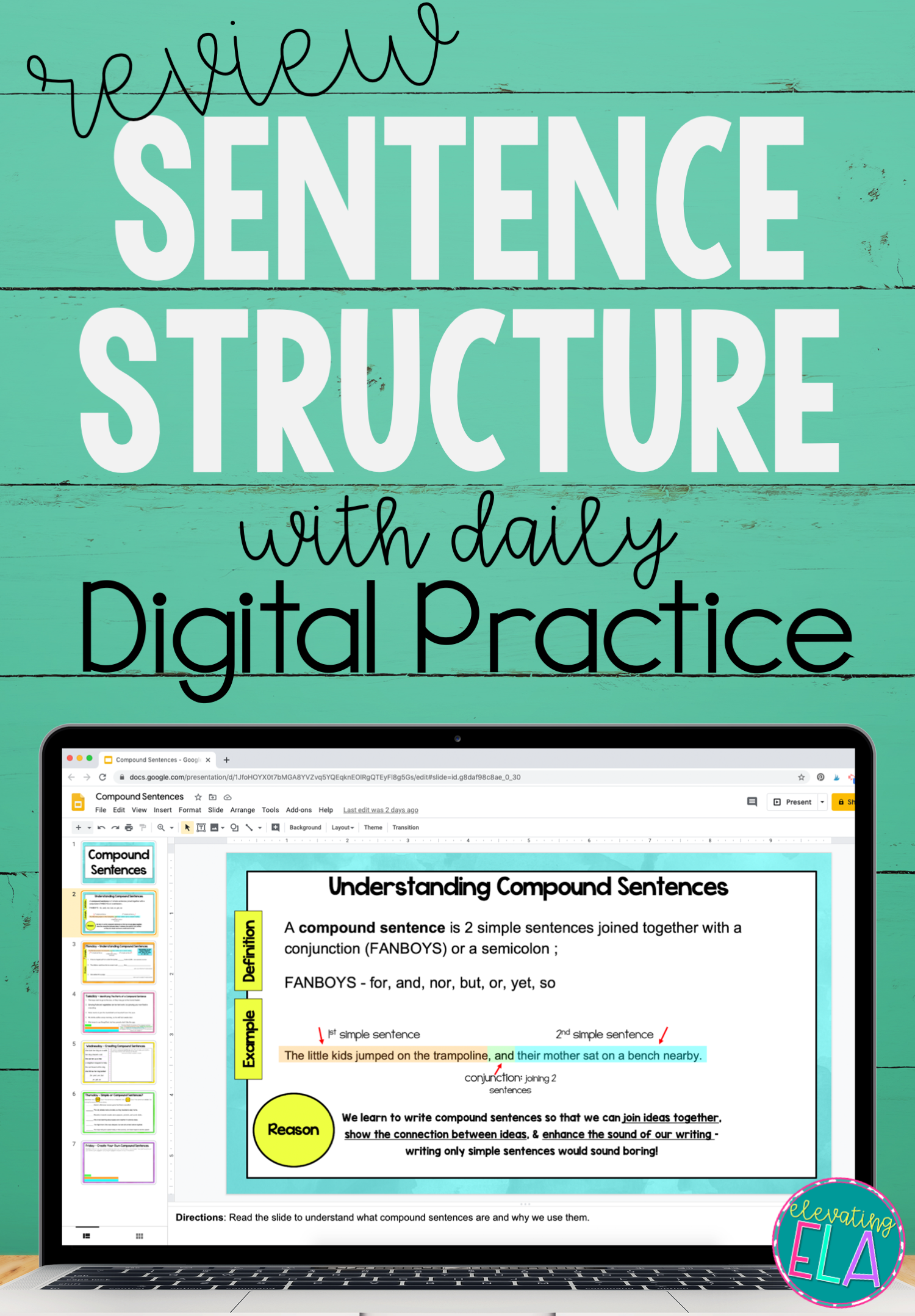 Compound Sentences Digital Daily Practice In 2021 Sentence Activities Sentences Grammar Lesson Plans [ 2156 x 1500 Pixel ]