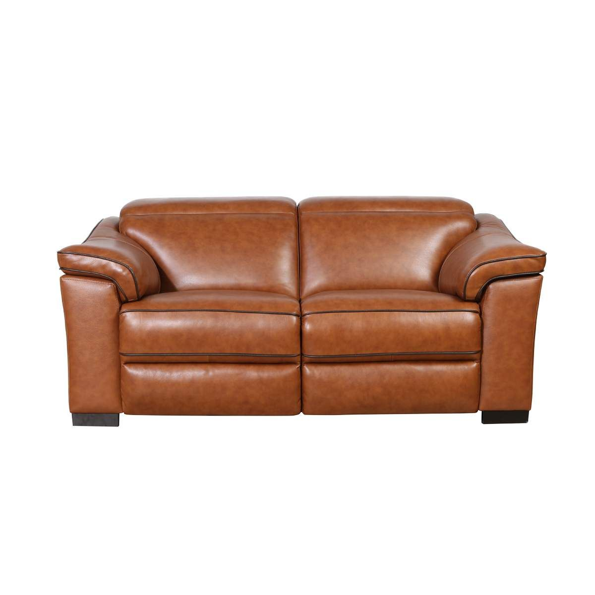Emma Leather Power Reclining Loveseat With Adjustable Headrests In Brown 71 X4 Modern Recliner Sofa Affordable Living Room Furniture Living Room Sets Furniture