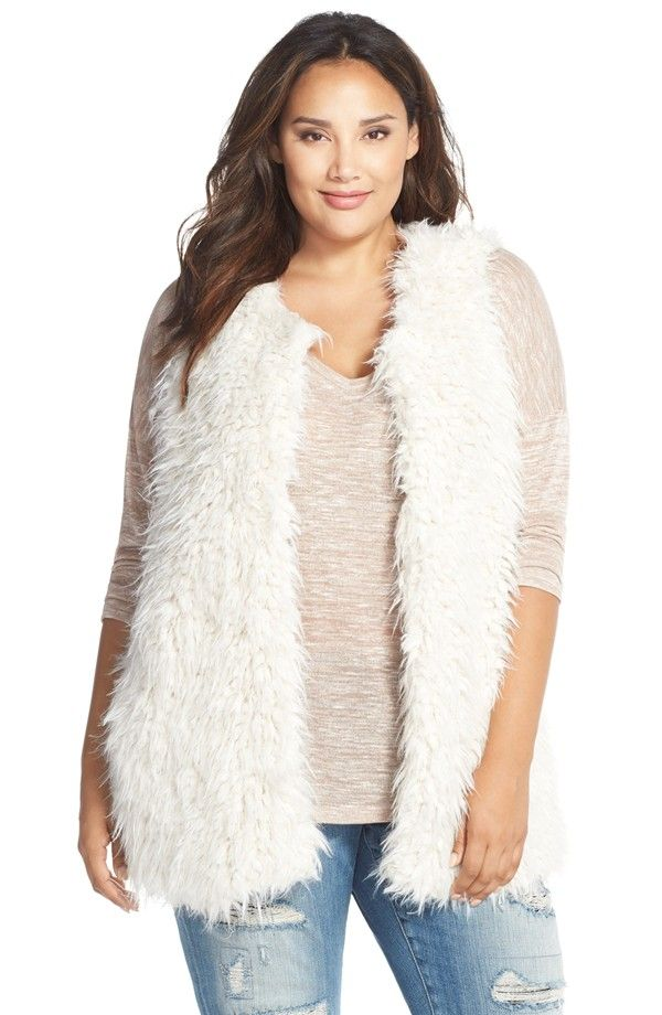 two by vince camuto oversized shaggy faux fur vest (plus size