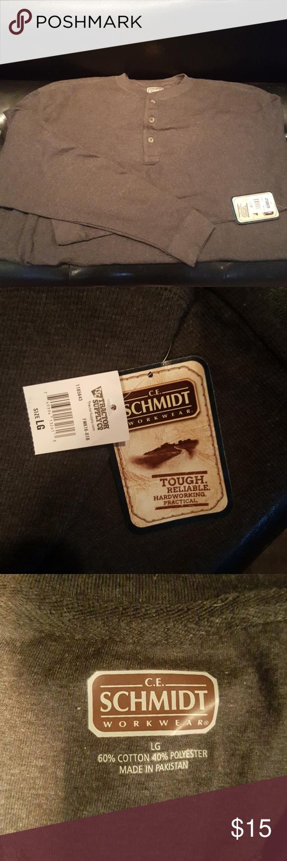 Mens Schmidt Workwear Shirt Mens Thermal Shirt Long Sleeve Size