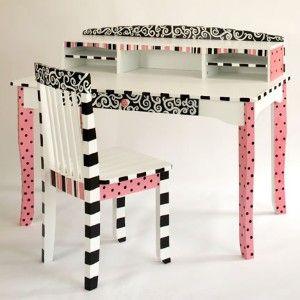 Pink Paris | Pink and Black Paris Themed Desk and Chair - C\'est ...
