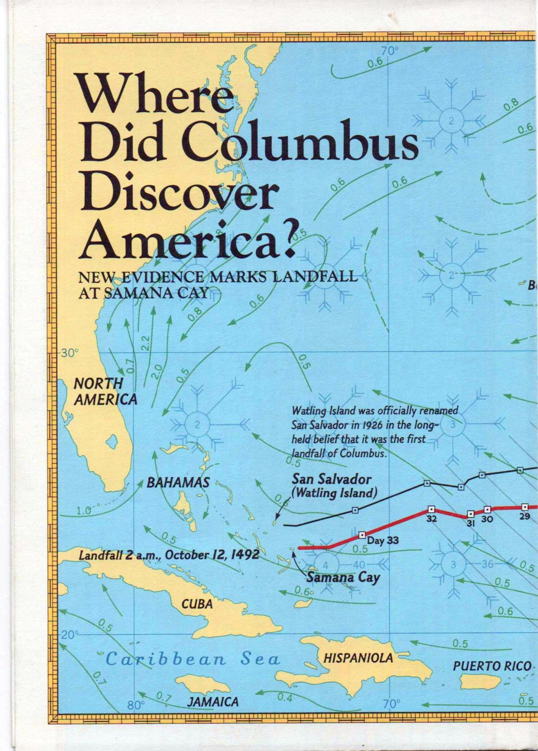 National geographic map poster where did columbus discover national geographic map where did columbus discover america new evidence marks landfall at samana cay good shape by vintagenejunk on etsy sciox Gallery