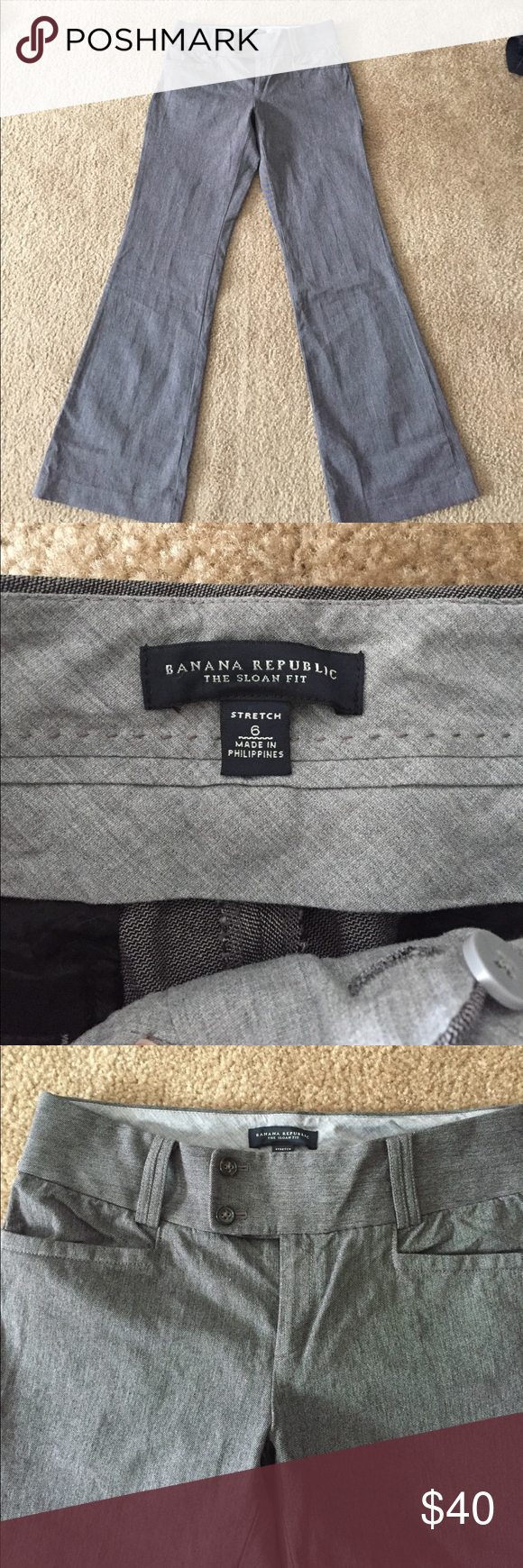 Pants Banana Sloan fit pants. Stretchy and comfy. Worn once for an interview. Basically brand new! Has back butt pockets. They are a pretty charcoal/black blend. Butt pockets are still sewn together! Banana Republic Pants Trousers