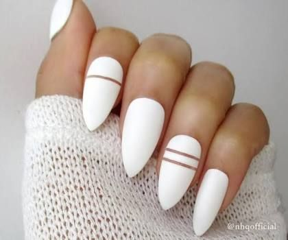 Almond White With Golden Lines Matte Stiletto Nails Fake Nails Matte Nails Design