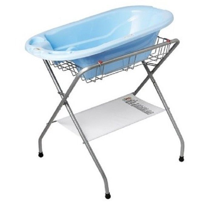 Large Folding Baby Bath Stand And Tub Double Position Safety Primo Storage  0 24 #