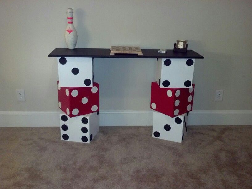 DIY dice table with chalkboard painted top for game room