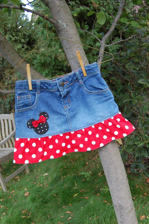 Disney Themed upcycled denim skirt size 7 -ready to ship - Mickey ...
