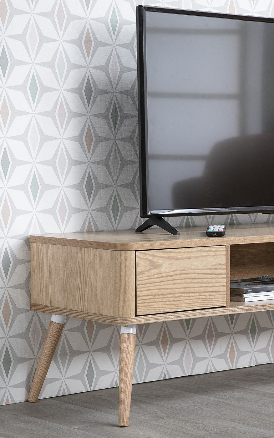 Meuble Tv Design En Chene Clair Totem Miliboo Meuble Tv Design Decoration Maison Mobilier De Salon