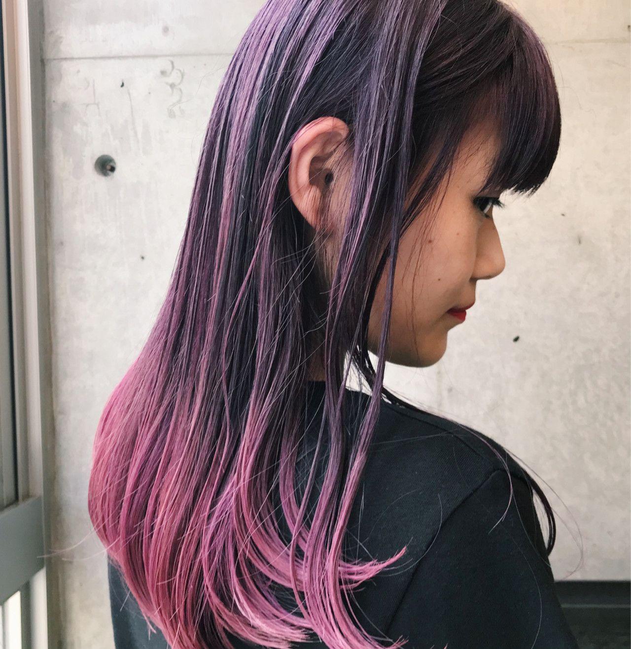紫からピンクのグラデーションカラー 美髪 ヘア アイディア ヘアー