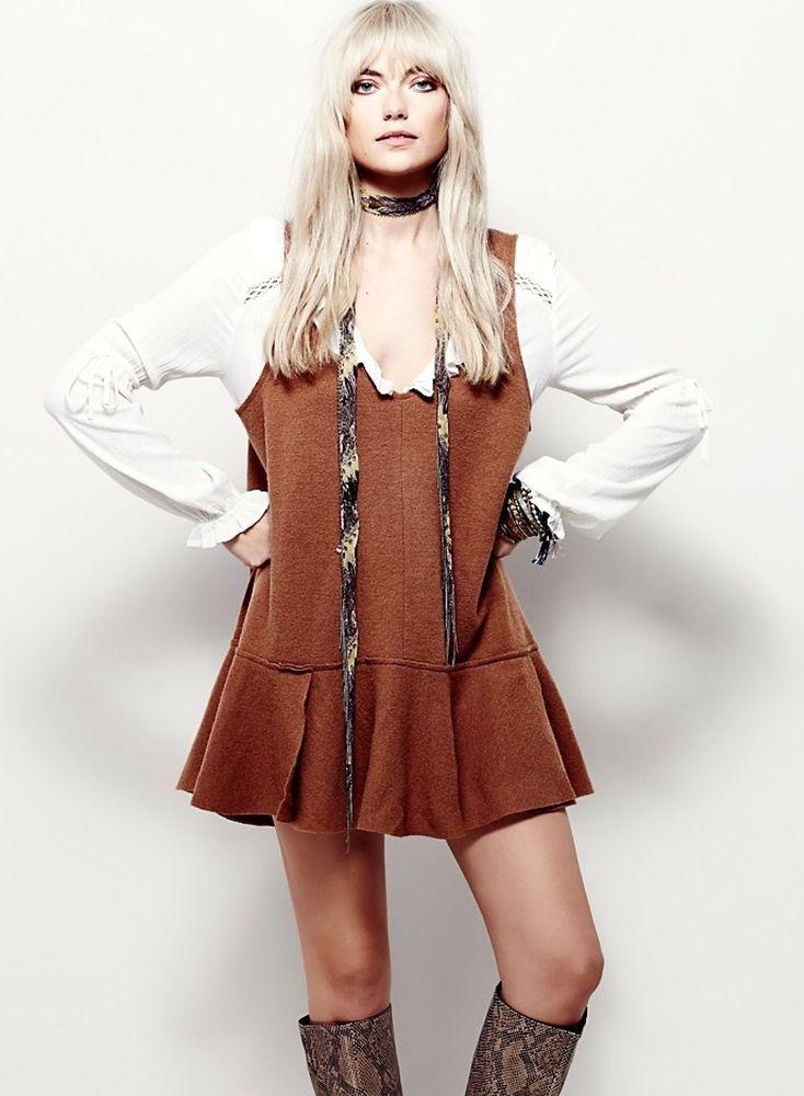 NEW Free People caramel Swing Ruffle Oversized Tunic Dress boiled wool L $168 #FreePeople #swingruffledropwaist #versatile