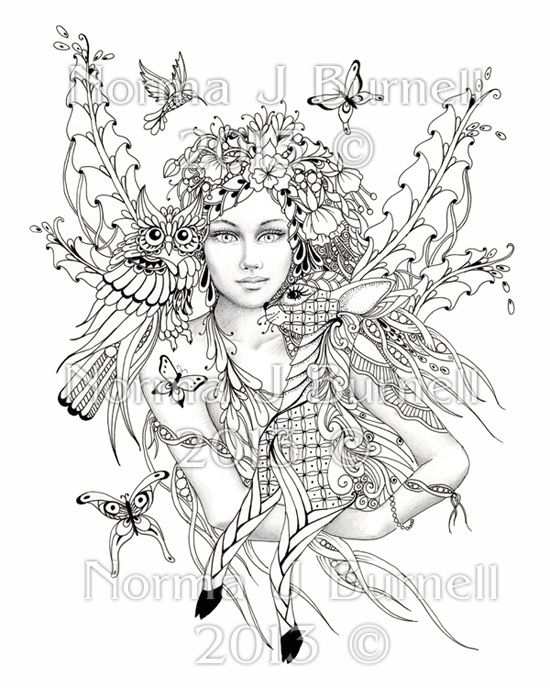 8x10 Fairy Tangle Art Print To Color Yourself By Norma Burnell Fairies Owl Deer Ausmalen Ausmalbilder Zeichnungen