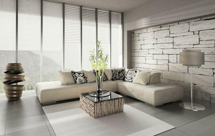 wohnzimmer tapeten ideen ausgefallen steinoptik weißer teppich - tapeten wohnzimmer ideen