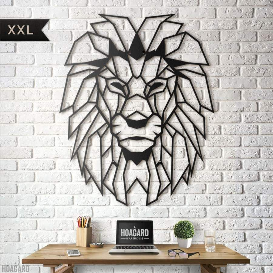 Hoagard Co Lion Head African Style Geometric Metal Wall Decor Eagle Wall Art Metal Wall Art Rustic Metal Wall Art