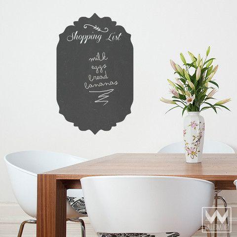 Shopping List Chalkboard Vinyl Wall Decal Wall Decals Design - wandbilder für küche