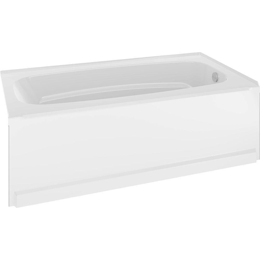 Delta Classic 400 60 In. Right Hand Drain Oval Alcove Non Whirlpool Bathtub  In High Gloss White 40034R   The Home Depot