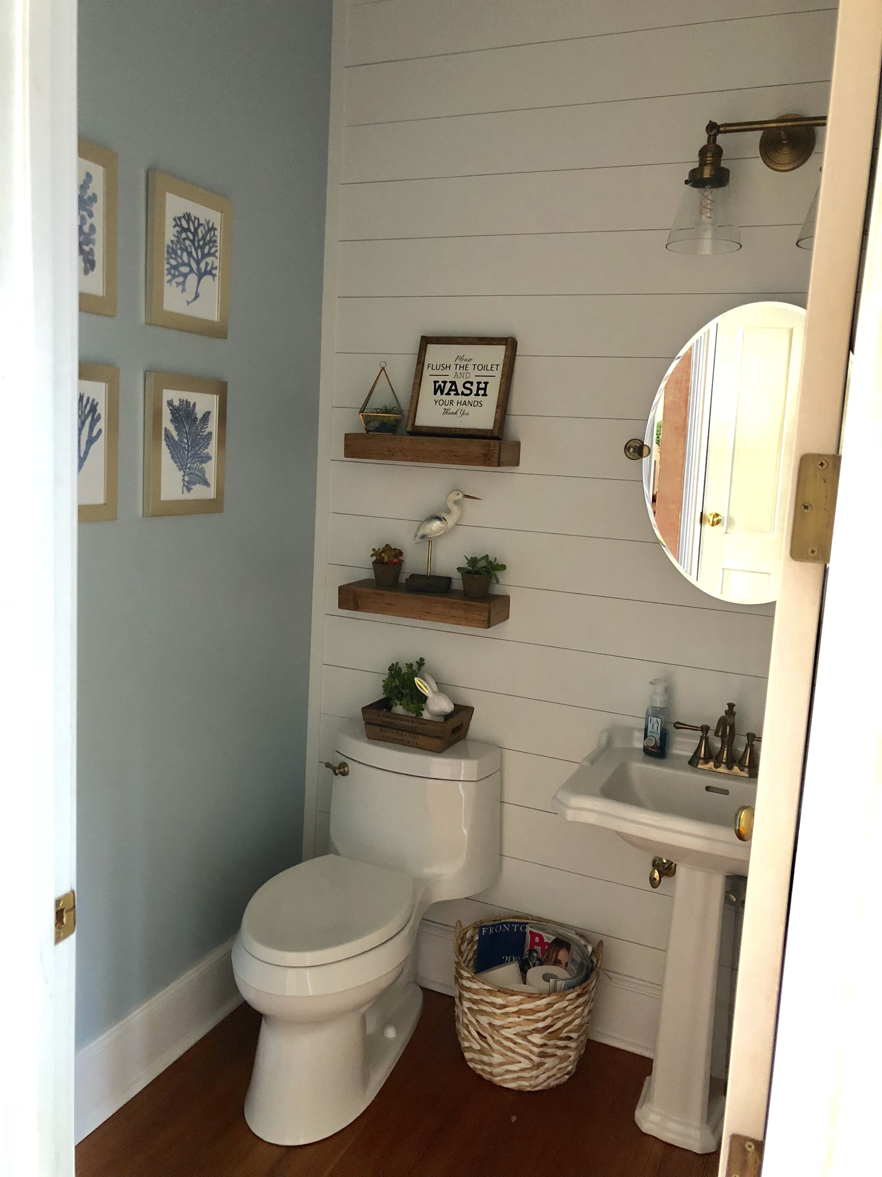 My Coastal Farmhouse Powder Room With Shiplap And Antique Gold
