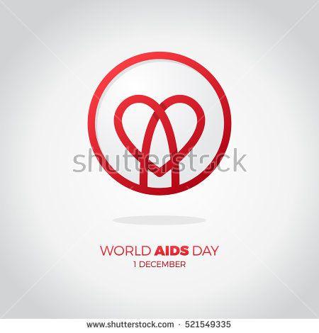 World Aids Day Awareness Red Ribbon In Heart Hiv Sti Logo Vector