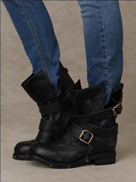 f48eaf96b7ebc Fashion Jeffrey Campbell Brit Wrap Strap Booties Genuine Leather Vintage Motorcycle  Boots Flat Heel Studded Women Shoes Boot Ankle Boots From Lindalisa, ...
