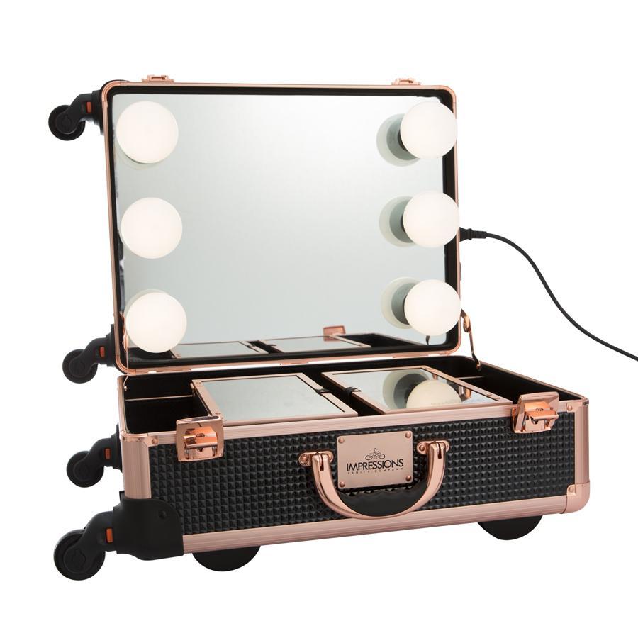 Slaycase Xl Vanity Travel Case In Black Rose Gold Impressions Vanity Co In 2020 Makeup Vanity Case Makeup Travel Case Makeup Vanity