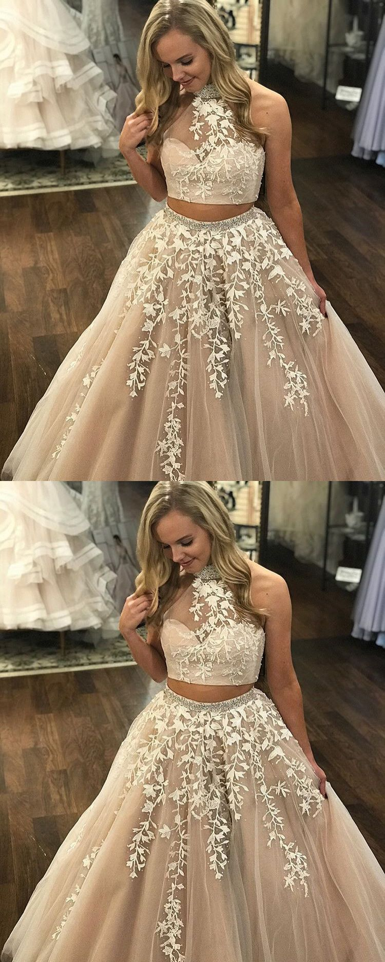 Two piece prom dress lace a line long cheap prom dress vb