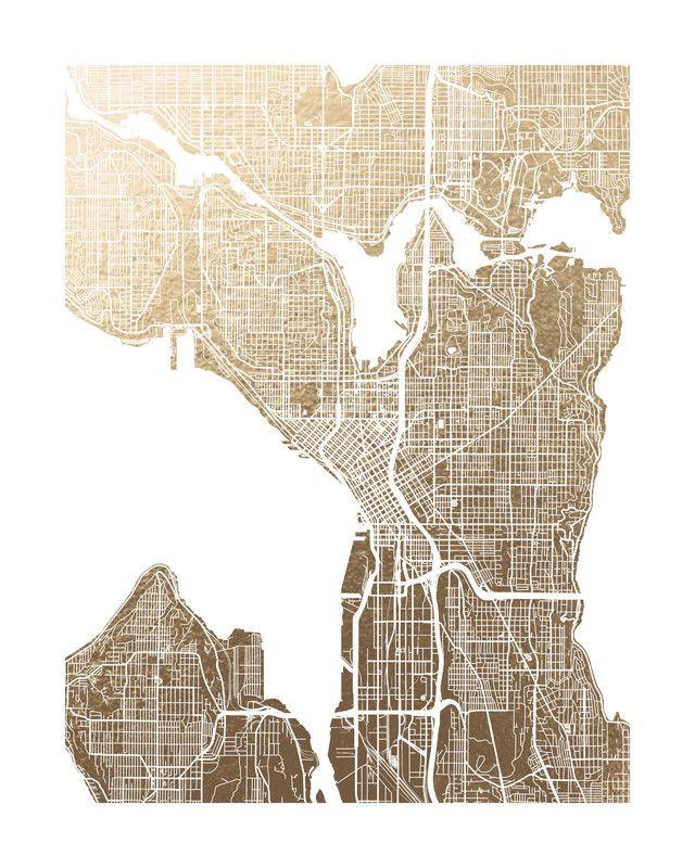Seattle Map Foil Pressed Art Print By Alex Elko Design