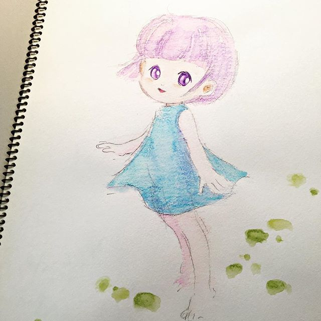 水彩色鉛筆を試したくて描いた絵 どうしてだか私が描くと ちょいレトロな感じになるような いや 好きだからいいけど イラスト Illustration Painting 女の子 水彩色鉛筆 もと もとp Fukudamotoko 16 09 19 37 水彩 色鉛筆 水彩イラスト