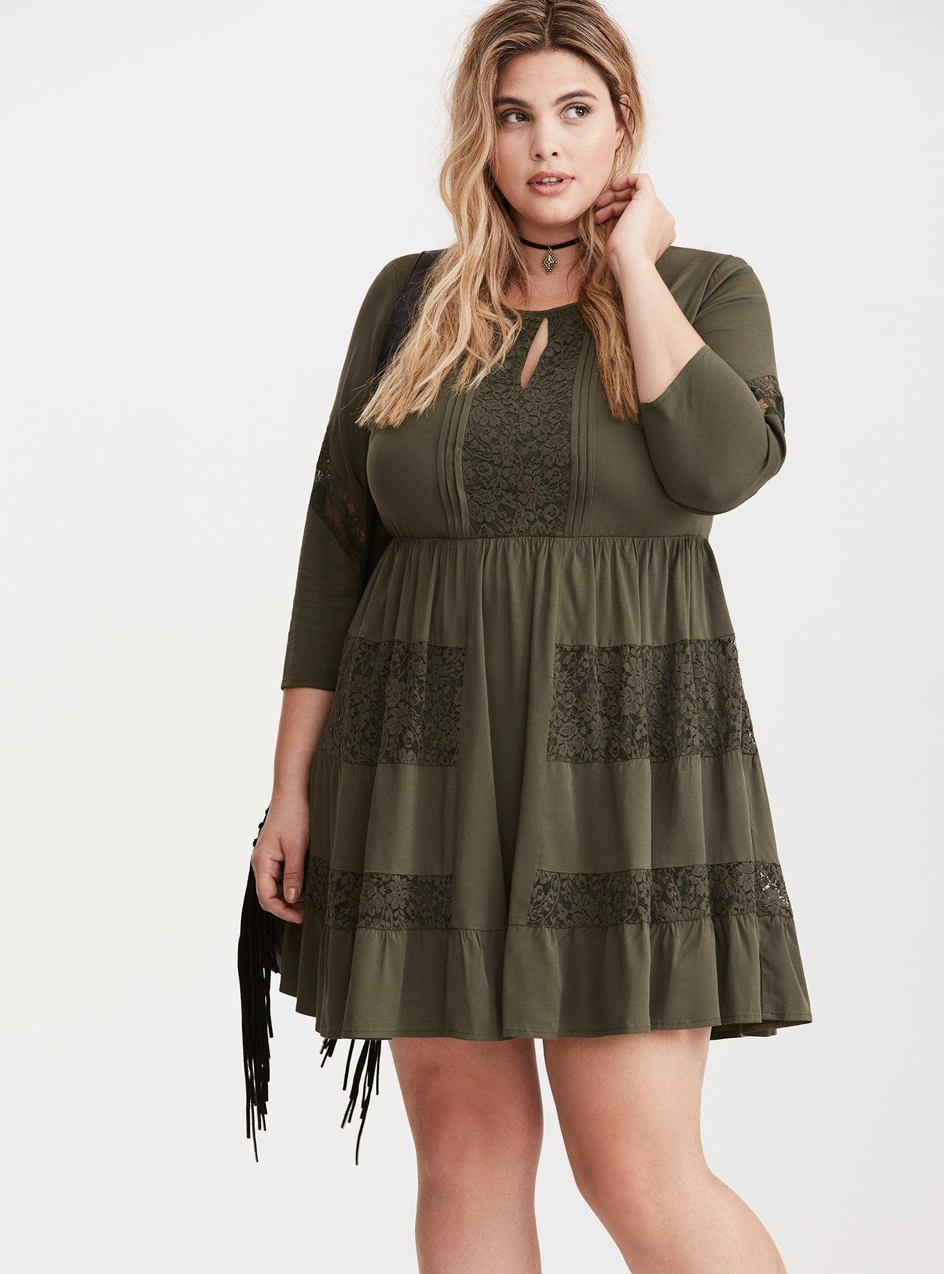 1febe2211f Lace Inset Challis Dress