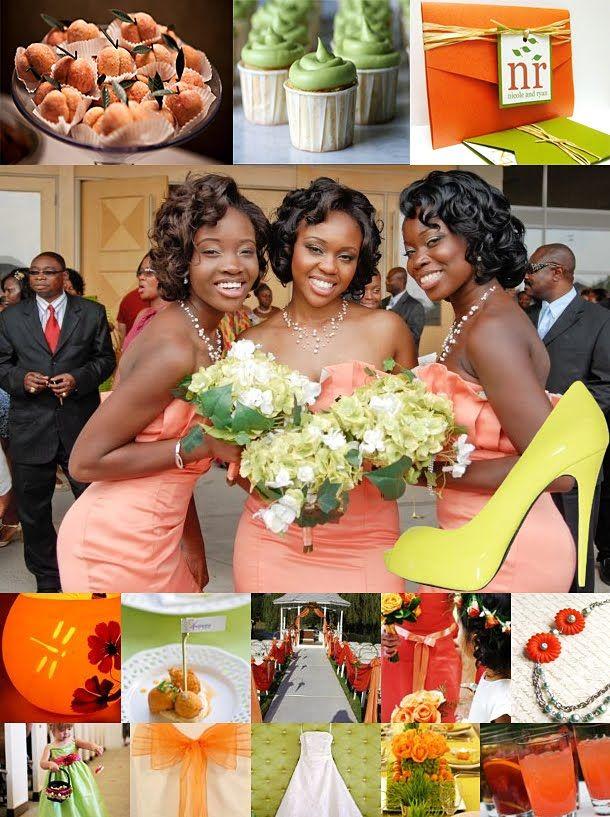 Wedding Theme Orange And Lime Green Inspiration Mariage Tropical