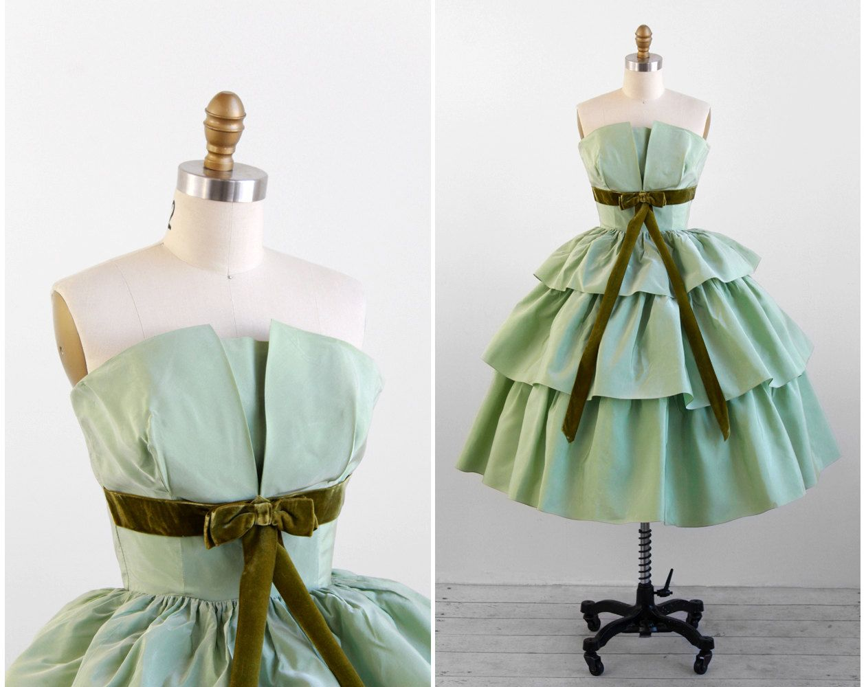 Vintage s dress s prom dress green taffeta gone with the