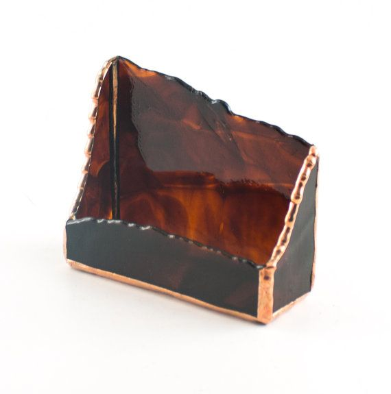 Unique Business Card Holder Modern Desk Accessories Stained